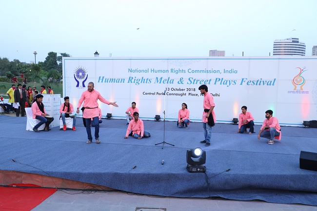 NHRC organized a Human Rights Mela and Street Theatre Festival at Central Park, Connaught Place, New Delhi on 13th October, 2018.